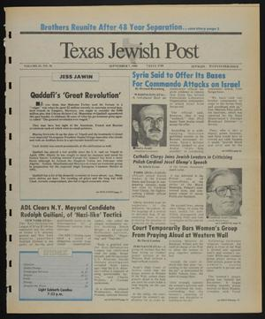 Primary view of object titled 'Texas Jewish Post (Fort Worth, Tex.), Vol. 43, No. 36, Ed. 1 Thursday, September 7, 1989'.