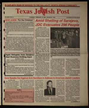 Primary view of object titled 'Texas Jewish Post (Fort Worth, Tex.), Vol. 48, No. 6, Ed. 1 Thursday, February 10, 1994'.