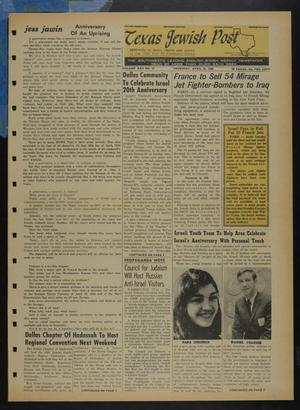 Primary view of object titled 'Texas Jewish Post (Fort Worth, Tex.), Vol. 22, No. 17, Ed. 1 Thursday, April 25, 1968'.