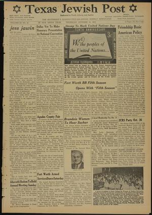 Primary view of object titled 'Texas Jewish Post (Fort Worth, Tex.), Vol. 9, No. 42, Ed. 1 Thursday, October 20, 1955'.