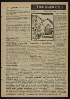 Primary view of object titled 'Texas Jewish Post (Fort Worth, Tex.), Vol. 14, No. 32, Ed. 1 Thursday, August 11, 1960'.