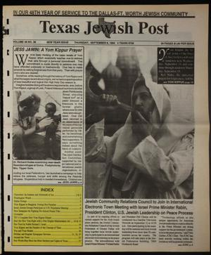 Primary view of object titled 'Texas Jewish Post (Fort Worth, Tex.), Vol. 48, No. 36, Ed. 1 Thursday, September 8, 1994'.