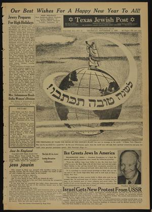 Primary view of object titled 'Texas Jewish Post (Fort Worth, Tex.), Vol. 12, No. 37, Ed. 1 Thursday, September 11, 1958'.