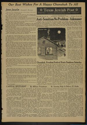 Primary view of object titled 'Texas Jewish Post (Fort Worth, Tex.), Vol. 12, No. 49, Ed. 1 Thursday, December 4, 1958'.