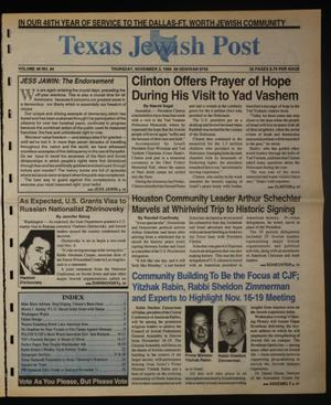 Primary view of object titled 'Texas Jewish Post (Fort Worth, Tex.), Vol. 48, No. 44, Ed. 1 Thursday, November 3, 1994'.