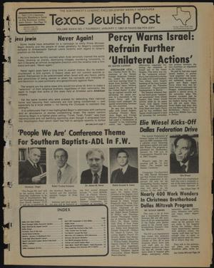 Primary view of object titled 'Texas Jewish Post (Fort Worth, Tex.), Vol. 36, No. 1, Ed. 1 Thursday, January 7, 1982'.