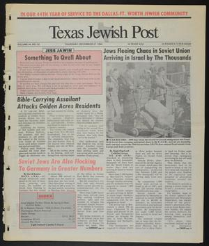 Primary view of object titled 'Texas Jewish Post (Fort Worth, Tex.), Vol. 44, No. 52, Ed. 1 Thursday, December 27, 1990'.