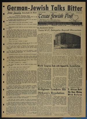 Primary view of object titled 'Texas Jewish Post (Fort Worth, Tex.), Vol. 20, No. 33, Ed. 1 Thursday, August 18, 1966'.
