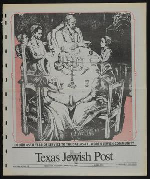 Primary view of object titled 'Texas Jewish Post (Fort Worth, Tex.), Vol. 45, No. 12, Ed. 1 Thursday, March 21, 1991'.