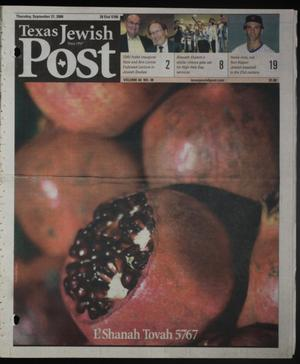 Primary view of object titled 'Texas Jewish Post (Fort Worth, Tex.), Vol. 60, No. 38, Ed. 1 Thursday, September 21, 2006'.