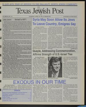 Primary view of object titled 'Texas Jewish Post (Fort Worth, Tex.), Vol. 46, No. 18, Ed. 1 Thursday, April 30, 1992'.