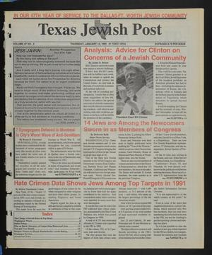Primary view of object titled 'Texas Jewish Post (Fort Worth, Tex.), Vol. 47, No. 2, Ed. 1 Thursday, January 14, 1993'.