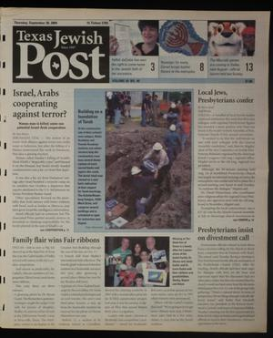 Primary view of object titled 'Texas Jewish Post (Fort Worth, Tex.), Vol. 58, No. 40, Ed. 1 Thursday, September 30, 2004'.