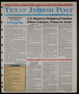 Primary view of object titled 'Texas Jewish Post (Fort Worth, Tex.), Vol. 54, No. 37, Ed. 1 Thursday, September 14, 2000'.