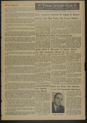 Primary view of object titled 'Texas Jewish Post (Fort Worth, Tex.), Vol. 17, No. 32, Ed. 1 Thursday, August 8, 1963'.