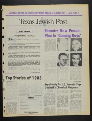 Primary view of object titled 'Texas Jewish Post (Fort Worth, Tex.), Vol. 42, No. 52, Ed. 1 Thursday, December 29, 1988'.