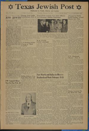 Primary view of object titled 'Texas Jewish Post (Fort Worth, Tex.), Vol. 4, No. 4, Ed. 1 Thursday, February 16, 1950'.