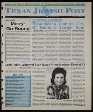 Primary view of object titled 'Texas Jewish Post (Fort Worth, Tex.), Vol. 54, No. 46, Ed. 1 Thursday, November 16, 2000'.