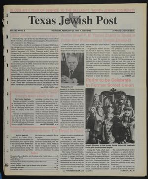 Primary view of object titled 'Texas Jewish Post (Fort Worth, Tex.), Vol. 47, No. 8, Ed. 1 Thursday, February 25, 1993'.