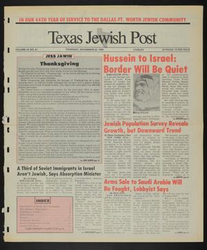 Primary view of object titled 'Texas Jewish Post (Fort Worth, Tex.), Vol. 44, No. 47, Ed. 1 Thursday, November 22, 1990'.