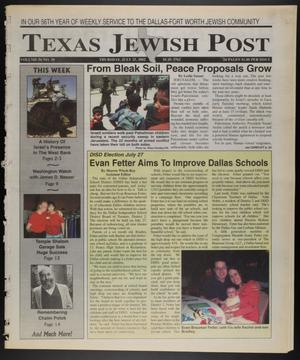 Primary view of object titled 'Texas Jewish Post (Fort Worth, Tex.), Vol. 56, No. 30, Ed. 1 Thursday, July 25, 2002'.