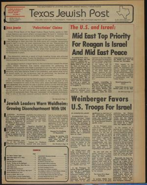 Primary view of object titled 'Texas Jewish Post (Fort Worth, Tex.), Vol. 35, No. 7, Ed. 1 Thursday, February 12, 1981'.