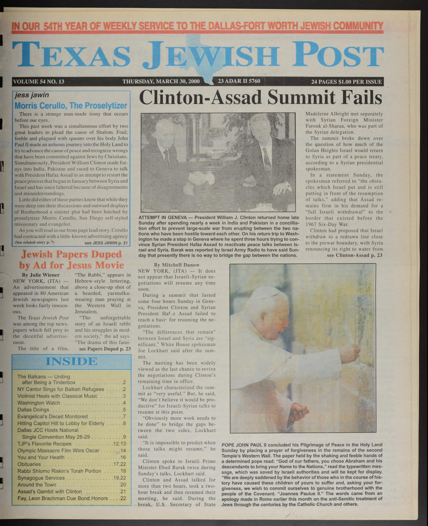 Texas Jewish Post (Fort Worth, Tex.), Vol. 54, No. 13, Ed. 1 Thursday, March 30, 2000                                                                                                      [Sequence #]: 1 of 24