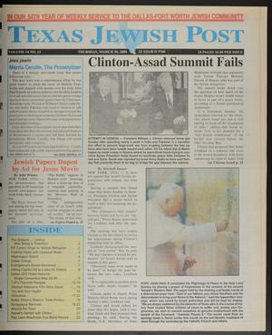 Primary view of object titled 'Texas Jewish Post (Fort Worth, Tex.), Vol. 54, No. 13, Ed. 1 Thursday, March 30, 2000'.