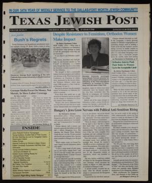 Primary view of object titled 'Texas Jewish Post (Fort Worth, Tex.), Vol. 54, No. 9, Ed. 1 Thursday, March 2, 2000'.