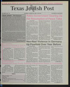 Primary view of object titled 'Texas Jewish Post (Fort Worth, Tex.), Vol. 46, No. 34, Ed. 1 Thursday, August 20, 1992'.
