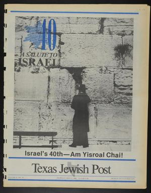 Primary view of object titled 'Texas Jewish Post (Fort Worth, Tex.), Vol. 42, No. 19, Ed. 1 Thursday, May 12, 1988'.