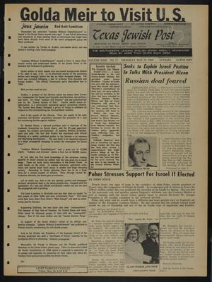 Primary view of object titled 'Texas Jewish Post (Fort Worth, Tex.), Vol. 23, No. 22, Ed. 1 Thursday, May 29, 1969'.