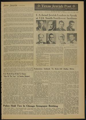Primary view of object titled 'Texas Jewish Post (Fort Worth, Tex.), Vol. 16, No. 3, Ed. 1 Thursday, January 18, 1962'.