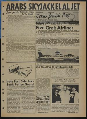 Primary view of object titled 'Texas Jewish Post (Fort Worth, Tex.), Vol. 22, No. 30, Ed. 1 Thursday, July 25, 1968'.