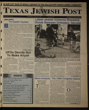 Primary view of object titled 'Texas Jewish Post (Fort Worth, Tex.), Vol. 51, No. 2, Ed. 1 Thursday, January 9, 1997'.