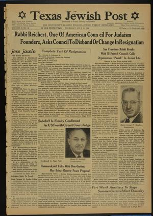 Primary view of object titled 'Texas Jewish Post (Fort Worth, Tex.), Vol. 10, No. 30, Ed. 1 Thursday, July 26, 1956'.