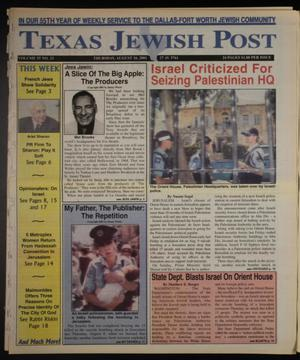 Primary view of object titled 'Texas Jewish Post (Fort Worth, Tex.), Vol. 55, No. 33, Ed. 1 Thursday, August 16, 2001'.