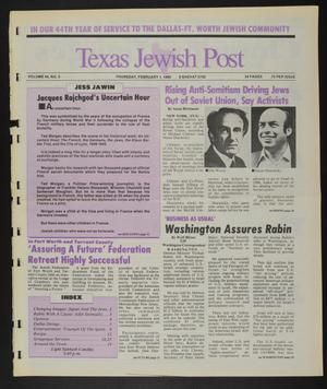 Primary view of object titled 'Texas Jewish Post (Fort Worth, Tex.), Vol. 44, No. 5, Ed. 1 Thursday, February 1, 1990'.