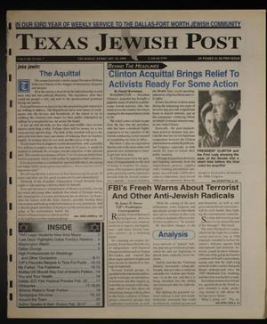 Primary view of object titled 'Texas Jewish Post (Fort Worth, Tex.), Vol. 53, No. 7, Ed. 1 Thursday, February 18, 1999'.