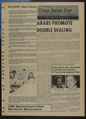 Primary view of object titled 'Texas Jewish Post (Fort Worth, Tex.), Vol. 25, No. 4, Ed. 1 Thursday, January 28, 1971'.