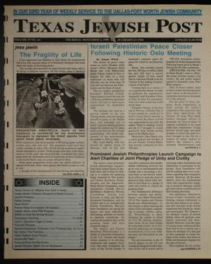 Primary view of object titled 'Texas Jewish Post (Fort Worth, Tex.), Vol. 53, No. 44, Ed. 1 Thursday, November 4, 1999'.
