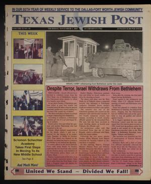 Primary view of object titled 'Texas Jewish Post (Fort Worth, Tex.), Vol. 55, No. 44, Ed. 1 Thursday, November 1, 2001'.