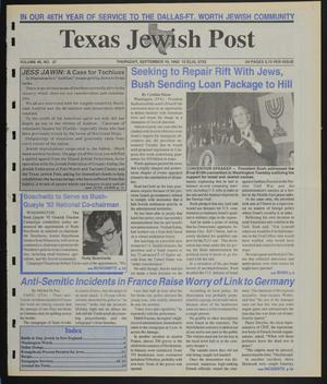 Primary view of object titled 'Texas Jewish Post (Fort Worth, Tex.), Vol. 46, No. 37, Ed. 1 Thursday, September 10, 1992'.