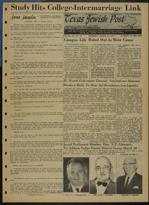 Primary view of object titled 'Texas Jewish Post (Fort Worth, Tex.), Vol. 20, No. 10, Ed. 1 Thursday, March 10, 1966'.