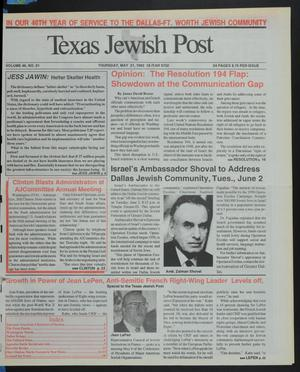 Primary view of object titled 'Texas Jewish Post (Fort Worth, Tex.), Vol. 46, No. 21, Ed. 1 Thursday, May 21, 1992'.