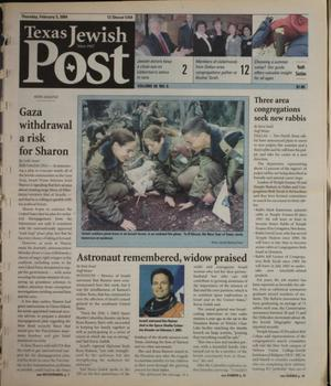 Primary view of object titled 'Texas Jewish Post (Fort Worth, Tex.), Vol. 58, No. 6, Ed. 1 Thursday, February 5, 2004'.