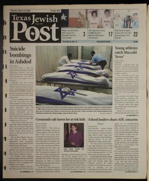 Primary view of object titled 'Texas Jewish Post (Fort Worth, Tex.), Vol. 58, No. 12, Ed. 1 Thursday, March 18, 2004'.