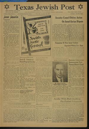 Primary view of object titled 'Texas Jewish Post (Fort Worth, Tex.), Vol. 8, No. 3, Ed. 1 Thursday, January 21, 1954'.