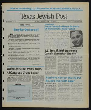 Primary view of object titled 'Texas Jewish Post (Fort Worth, Tex.), Vol. 43, No. 33, Ed. 1 Thursday, August 17, 1989'.
