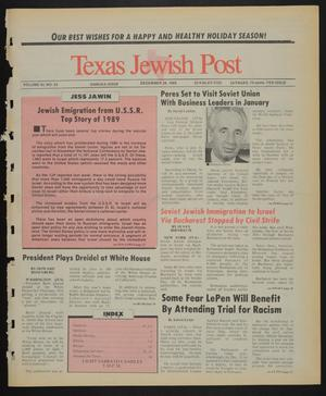 Primary view of object titled 'Texas Jewish Post (Fort Worth, Tex.), Vol. 43, No. 52, Ed. 1 Thursday, December 28, 1989'.